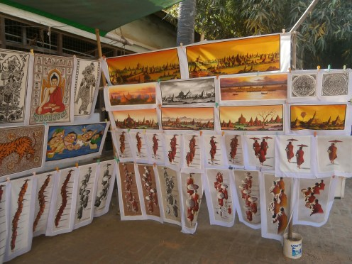 Some beautiful artworks sold in an old pagoda