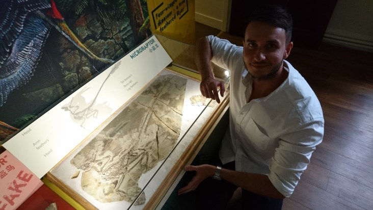 Dean Lomax with Microraptor