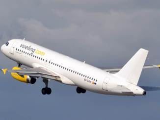 A Vueling A320 departing Cardiff Airport (Credit Nick Harding/Aviation Wales)