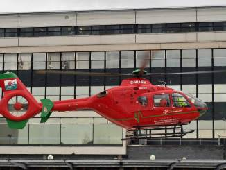 G-WASN UHW Hospital Helipad (Credit Nick Harding/Aviation Wales)