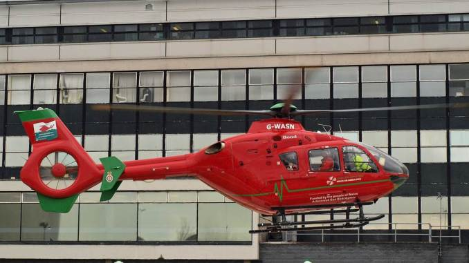 G-WASN UHW Hospital Helipad (Credit Nick Harding/Aviation Wales)