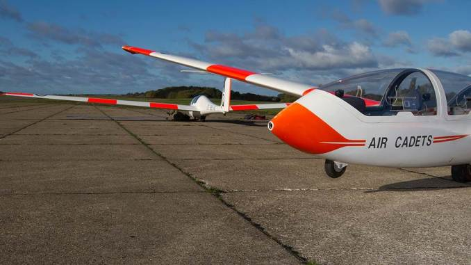 Two Grob Viking TX Mk1 gliders of 614 Volunteer Gliding Squadron at Wethersfield (Crown Copyright)