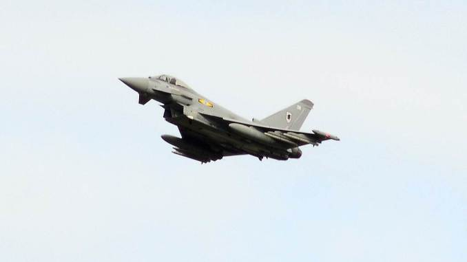 RAF Typhoon overflies the runway after escorting D-BTLT into Cardiff Airport (Credit Ian Grinter)