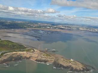 Flying over Swansea Bay (Image: nick Harding/Aviation Wales)