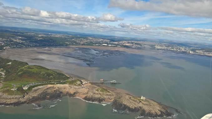 Flying over Swansea Bay (Image: nick Harding/Aviation Wales)