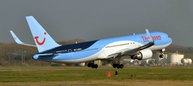Thomson Boeing 767-300 G-OBYG Departing Cardiff Airport (Image: Aviation Wales)
