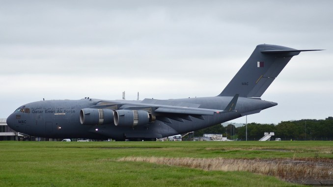 Boeing C17 A7-MAC at Cardiff Airport (Image: Ian Grinter)