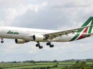 Alitalia A330 at Cardiff Airport