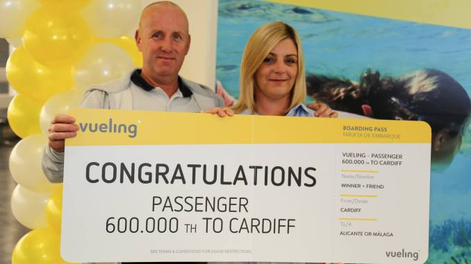 Vueling welcomes 600,000th passenger through Cardiff Airport