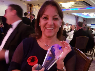 CEO Deb Barber with CWL Best Airport under 3 million passengers award