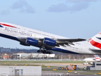 A British Airways A380 departs London Heathrow