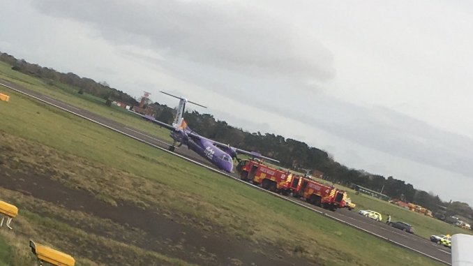 Flybe dash lands with nose gear up