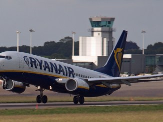 A Ryanair Boeing 737-800 takes-off at Bristol Airport