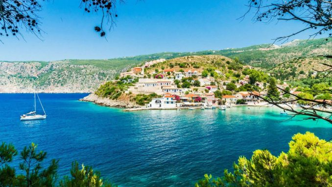 Kefalonia lies in the Ionian Sea, west of mainland Greece