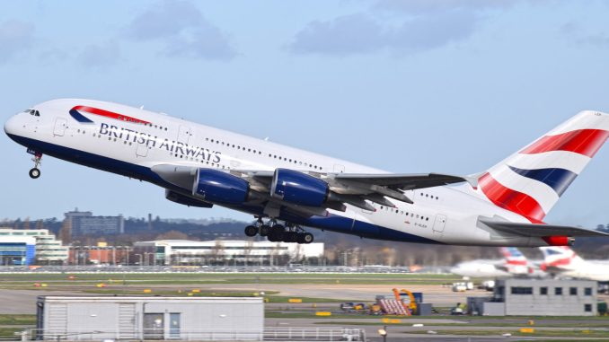 British Airways Airbus A380 G-XLEH lifts off from Heathrow's Runway 27L (Aviation Media Agency)