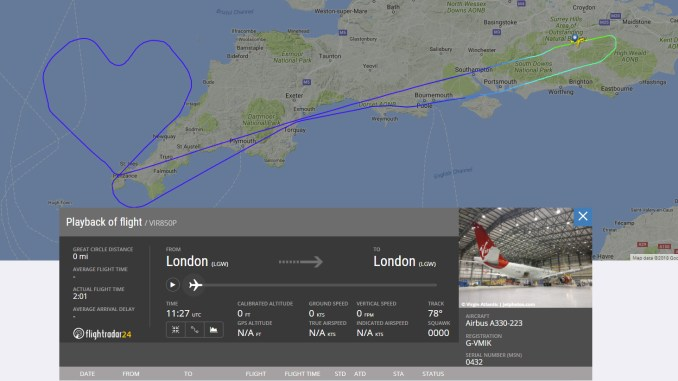 Virgin Atlantic fills the Cornish sky with love