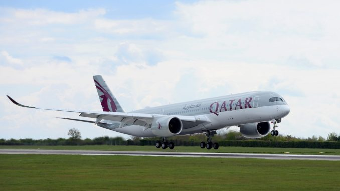 Qatar Airways A350-900 arrives into Cardiff Airport