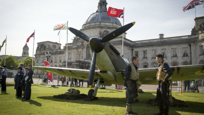 Spitfire outside City Hall Cardiff