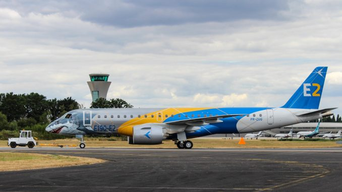The E190-E2 Profit Hunter being shown off at Farnborough International Air Show 2018 (Image: N Harding / The Aviation Media Co.)