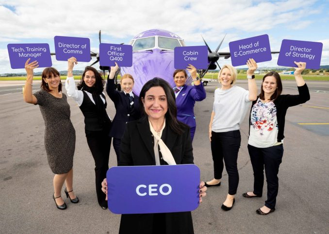 Christine Ourmières-Widener, the CEO of Flybe (centre), launches the new FlyShe programme with just some of her many female colleagues