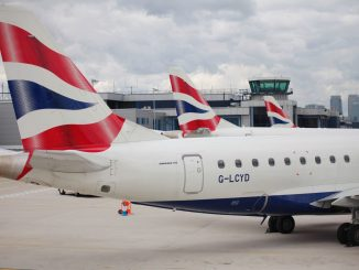A row of British Airways Cityflyer Embraer aircraft at London City Airport