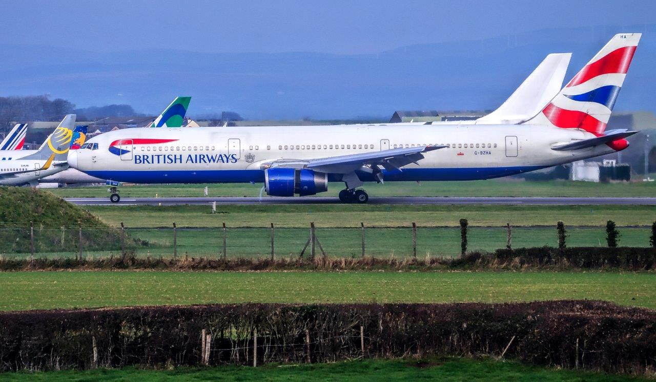 One of the two British Airways Boeing 767 lands at St Athan earlier today (Image: Philip Dawson)