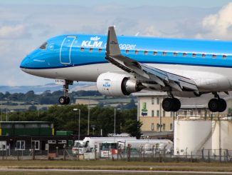 KLM Embraer lands at Cardiff Airport (Image: The Aviation Media Co.)