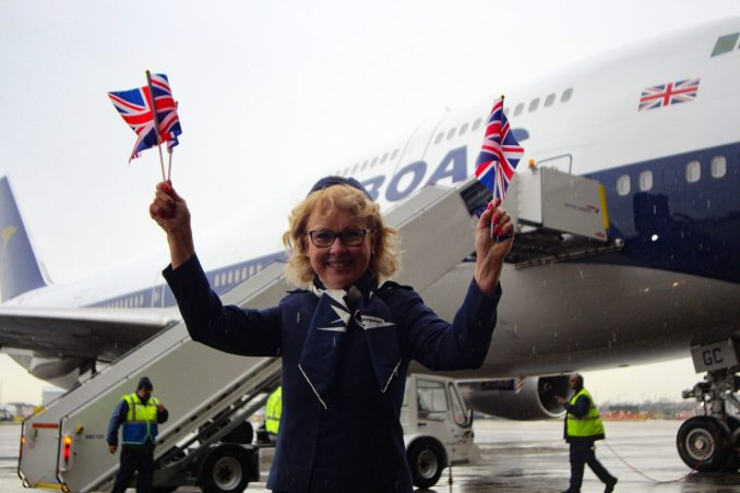 Not even rain could dampen the spirits of former BOAC crew member Linda Morrison (Image: Aviation Media Co.)