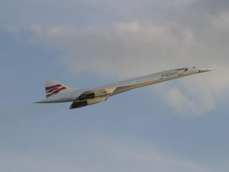 Concorde with its nose drooped partially in flight (Image: British Airways)
