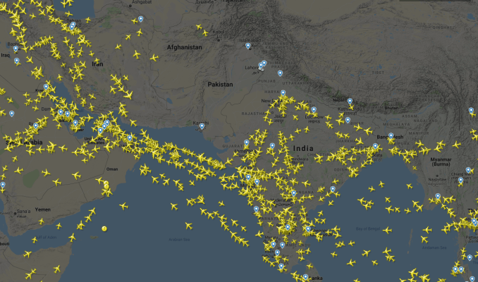 Flight tracking apps like Flightradar24 show aircraft are routing south of the Indo-Pakistan region amid rising tensions