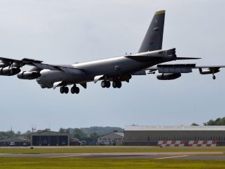 A Boeing B-52H lands at RAF Fairford (Image: The Aviation Media Agency.)
