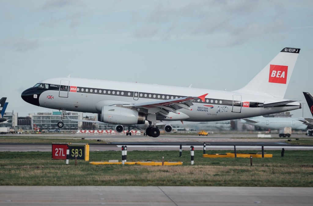 Airbus A319 G-EUPJ arrives at London Heathrow (Image: Nick Morrish/British Airways)