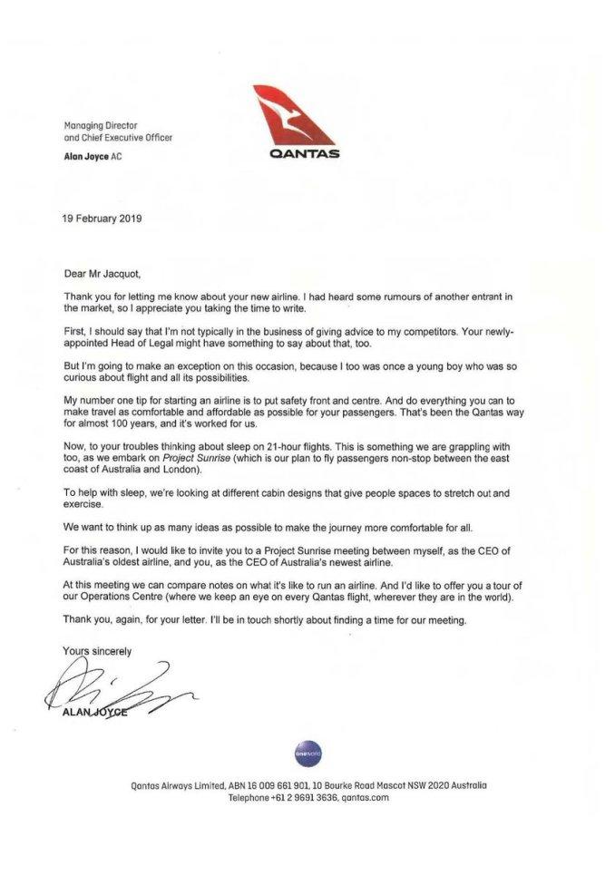 Letter from Qantas CEO Alan Joyce (@Qantas/Twitter)