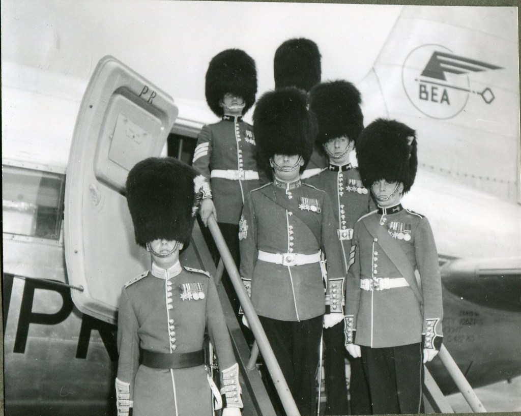 Welsh guards on BEA aircraft