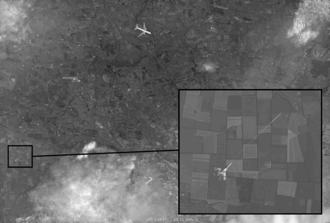 Fake image sent to Reuteurs by Russian TV Channel 1 claiming to show MH17 shot down by Ukranian Fighter. The image has been proven to be false.