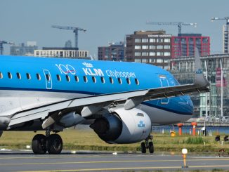KLM Embraer wearing the KLM 100 logo (Image: Aviation Media Agency)