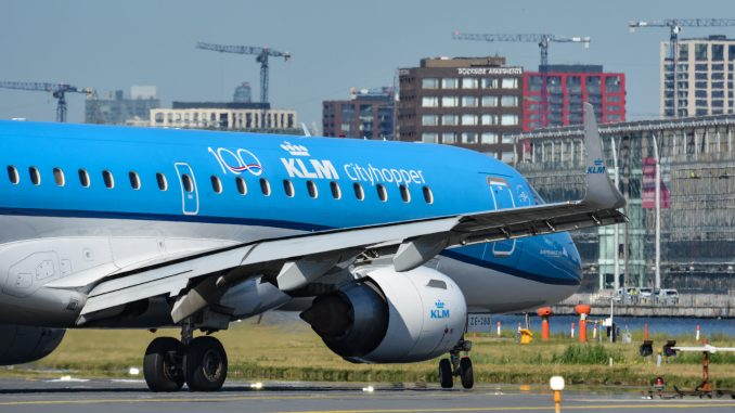 KLM Embraer wearing the KLM 100 logo (Image: Aviation Media Agency)
