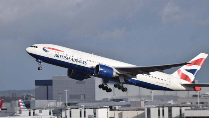 A British Airways Boeing 777-200 takes off from London Heathrow