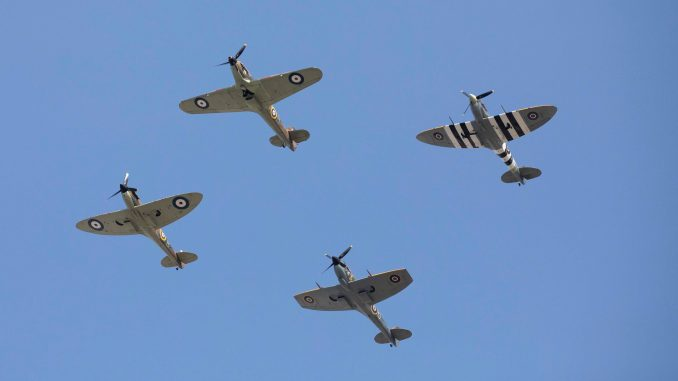 Image shows a BBMF fly past at the the Battle of Britain Service at Westminster Abbey. ©Crown Copyright