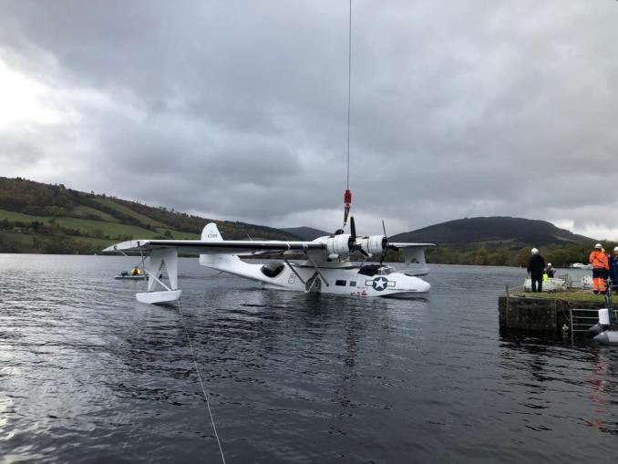 Miss Pick Up being lifted out of Loch Ness (Image: Plane Sailing)