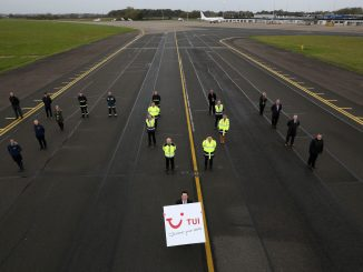 Tees Valley Mayor Ben Houchen with Airport Staff announcing Tui