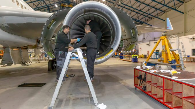 Caerdav has launched a new three-year, Level 3 Aircraft Maintenance Apprenticeship Programme. (Image taken before recent Covid-19 restrictions).