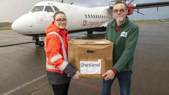 Shetland Food Bank gets a delivery from Loganair