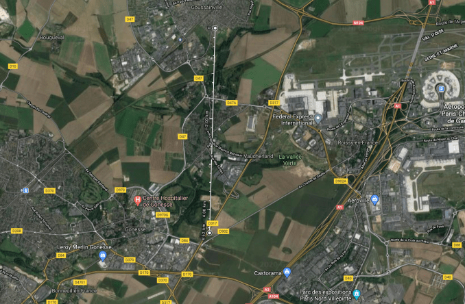 The distance between the crash site of the TU-144 in Gousaainville and the crash of Concorde in Gonesse is just 4.52km