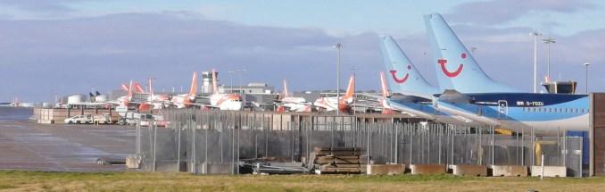 easyJet & Tui aircraft parked at Bristol Airport
