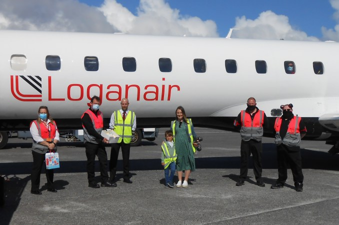 George with Loganair team at Benbecula Airport