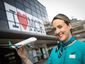 Aer Lingus launches its first ever transatlantic services direct from Manchester to the US and the Caribbean, which will create up to 120 new jobs. Pictured at the event Senior Cabin Crew Member Elizabeth Murphy.