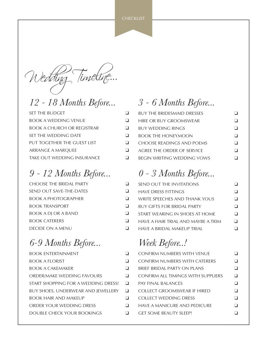 The Ultimate Monthly Wedding Checklist Ukbride Blog