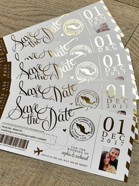 Boarding Pass Save the Date Idea.