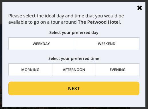 The pop up box to book a venue tour.